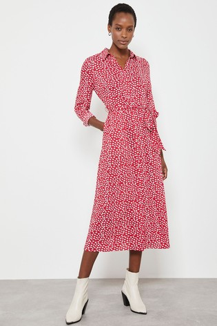 Mint Velvet Poppy Lips Midi Shirt Dress