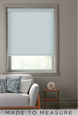 Woven Mono Teal Blue Made To Measure Roller Blind by MissPrint