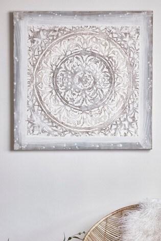 Cox & Cox White Washed Spyra Panel Canvas