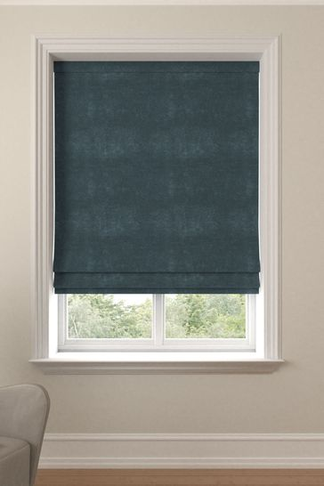 Soft Velour Juniper Green Made To Measure Roman Blind