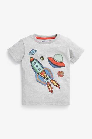 Grey Rocket Appliqué T-Shirt (3mths-7yrs)