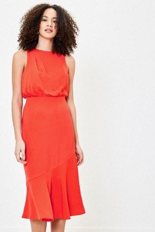 Oasis Orange Wrap Back Midi Dress