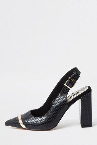 River Island Black Metal Toe Sling Back Court Shoes