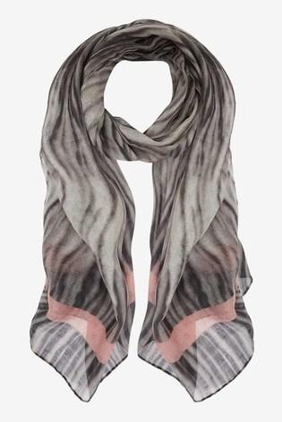 Mint Velvet Dark Grey Zebra Print Scarf
