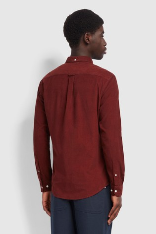 Farah Red Fontella Cord Long Sleeved Slim Fit Shirt