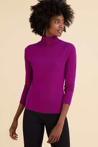 Pure Collection Pink Cashmere Roll Neck Sweater