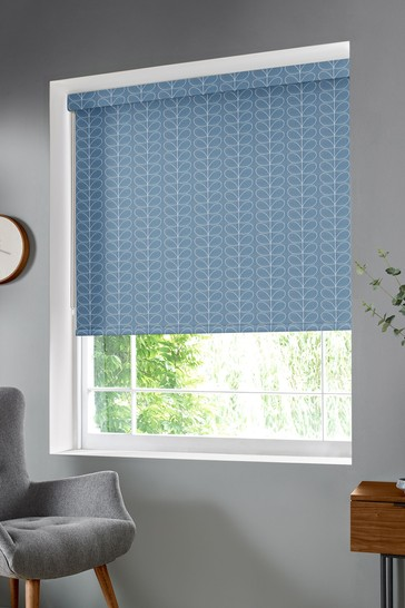Woven Linear Stem Cool Grey Made To Measure Roller Blind by Orla Kiely