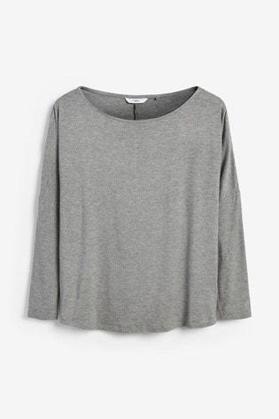 Grey Marl Dolman Long Sleeve Top