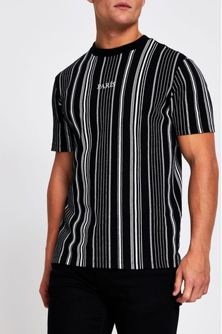 River Island Black Mono Dogtooth Stripe T-Shirt
