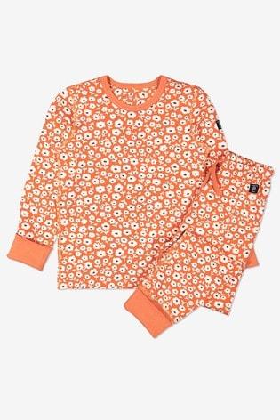 Polarn O. Pyret Orange Organic Cotton Floral Pyjamas