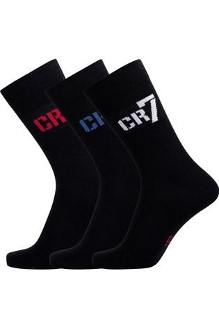 CR7 Boys Black Socks Three Pack