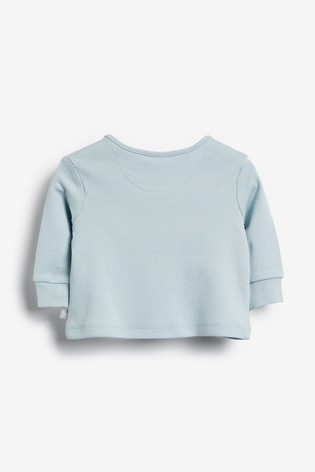 The Little Tailor Blue Chest Print Jersey Top
