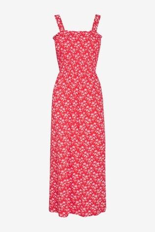 Red Floral Shirred Dress
