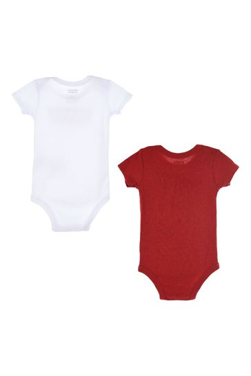 Levi's® White/Red Batwing Bodysuits Two Pack