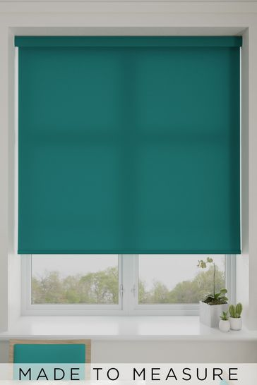 Asher Teal Blue Made To Measure Light Filtering Roller Blind