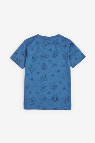 Blue Short Sleeve Pokémon Appliqué T-Shirt (3-16yrs)