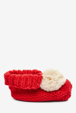 Red Knitted Booties (Newborn)