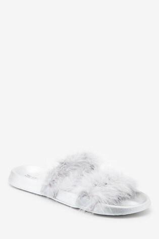 Silver Open Toe Marabou Sliders