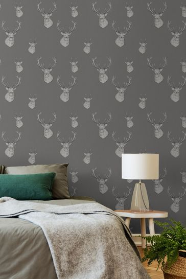 Catherine Lansfield Silver Stag Wallpaper