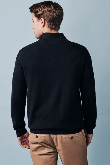 Crew Clothing Company Black Classic 1/2 Zip Knit