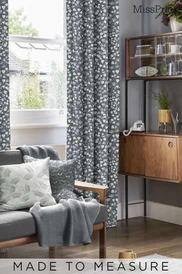 Fern Night Frost Black Made To Measure Curtains by MissPrint