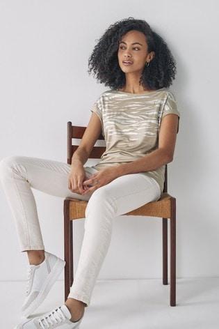 Sage Foil Animal Print Short Sleeve T-Shirt