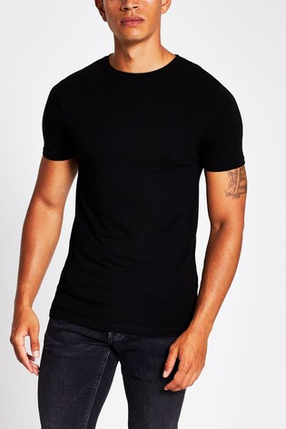 River Island Black Muscle Essential T-Shirt