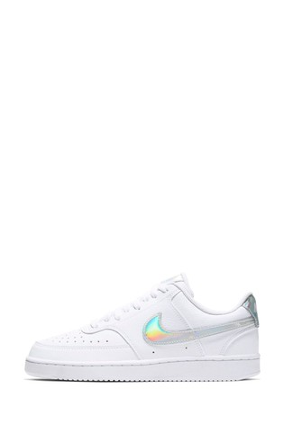 Nike White Iridescent Court Vision Trainers