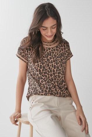 Animal Print Bubble Hem T-Shirt