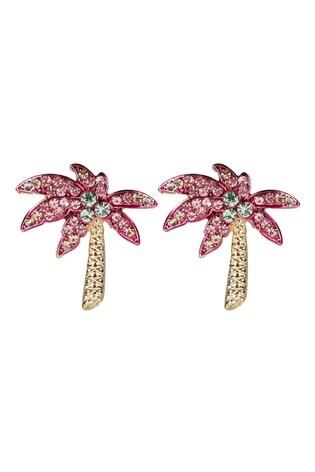 Oliver Bonas Pink Palm Tree Jewelled Stud Earrings