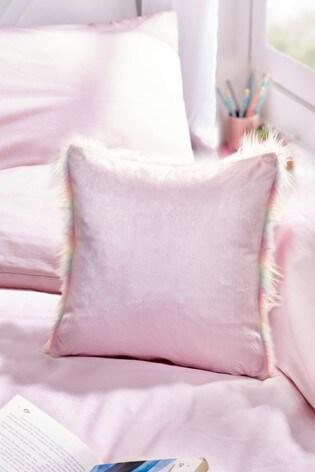 Rainbow Ombre Faux Fur Cushion