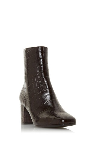Dune London Oregon  Brown Square Toe Mid Heel Ankle Boots