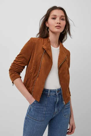 French Connection Brown Calira Suedette Fitted Jacket
