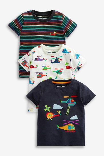 Rainbow Helicopter 3 Pack T-Shirts (3mths-7yrs)