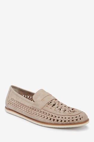 Off White Weave Loafers
