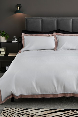 300 Thread Count 100% Cotton Sateen Border Duvet Cover And Pillowcase Set