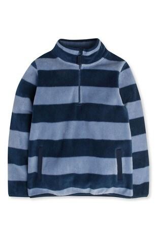 M&Co Kids Blue Zip Neck Stripe Fleece