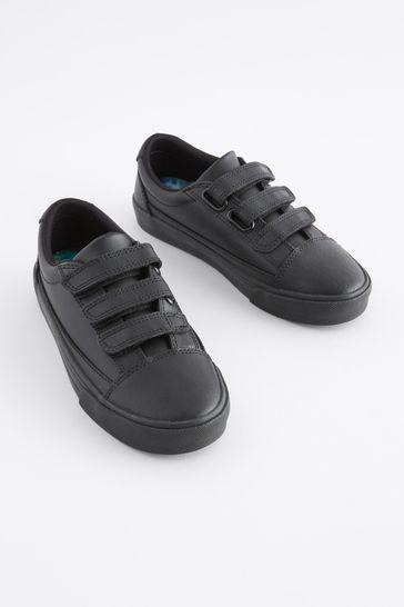 Black Standard Fit (F) Leather Triple Strap Shoes