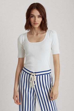 Lauren Ralph Lauren® White Nadalia Short Sleeve Jumper
