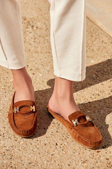 Tan Driver Mule Shoes