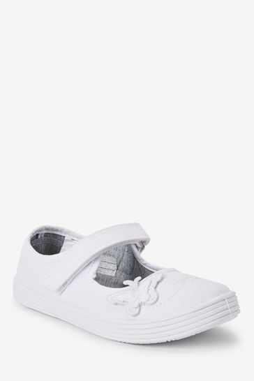 White Butterfly Embroidered Plimsolls