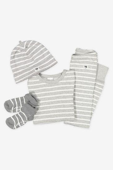 Polarn O. Pyret Grey GOTS Organic Striped Wrap Around Bodysuit