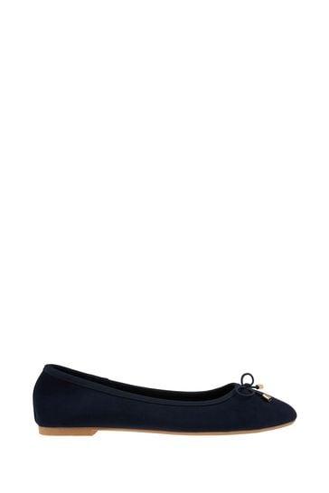 Accessorize Blue Sophia Bow Ballerina Shoes