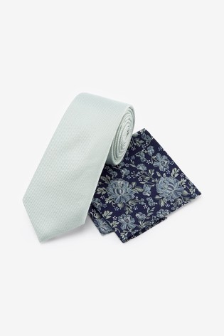 Mint Regular Signature Tie With Pocket Square Set