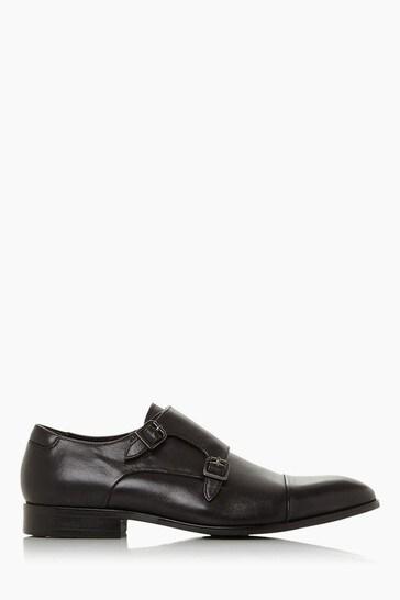 Dune London Scheme Black Leather Double Buckle Monk Shoes