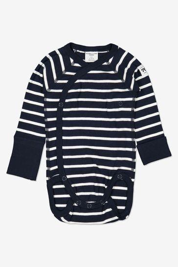 Polarn O. Pyret Blue GOTS Organic Striped Wrap Around Bodysuit