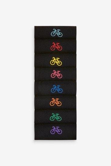 Black Bike 8 Pack Embroidered Socks