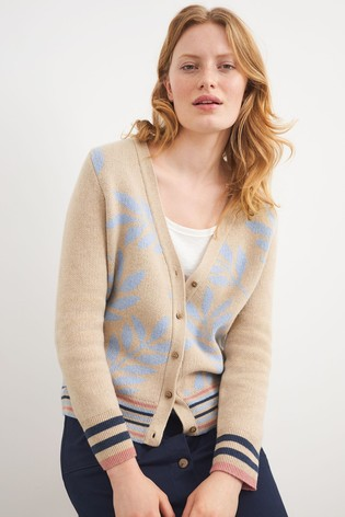 White Stuff Natural Leaf Intarsia Cardigan