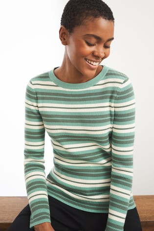 White Stuff Green Skinny Rib Jumper