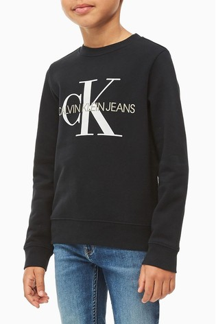 Calvin Klein Black Jeans Monogram Logo Sweatshirt